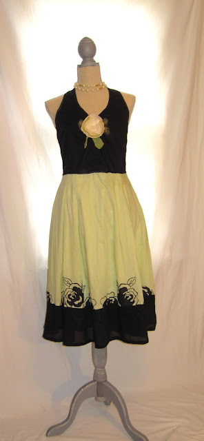 Mint Green and Black,Romantic Shabby Chic Party Cotton Summer Halter Dress