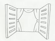 Desenho de janela para salvar, imprimir e colorir