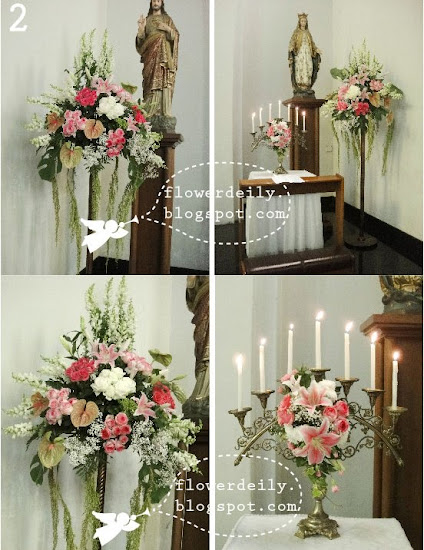 Decoración floral con paniculata, verde, margaritas y algo de rosa (lilium) 8