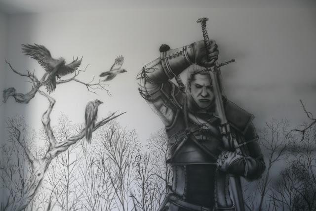 the witcher, malowanie wiedźmina na ścianie w pokoju młodzieżowym, mroczny motyw