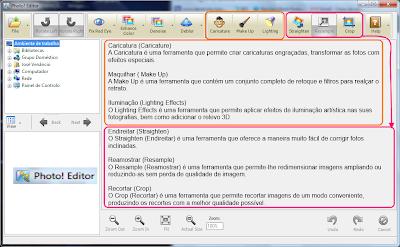 Botões de funções manipulação e dimensões do Photo! Editor