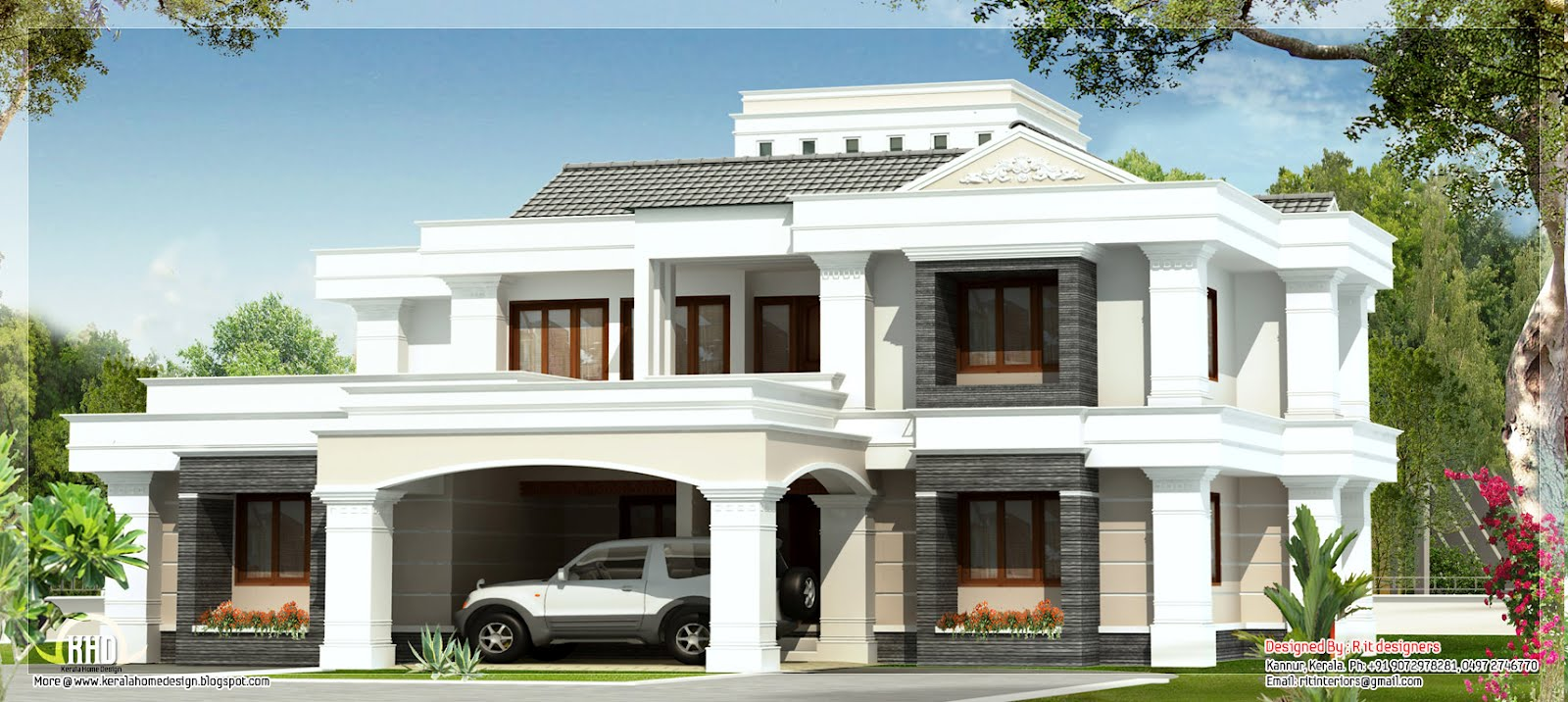 Design luxury house double floor 4 bedroom house for A four bedroom house