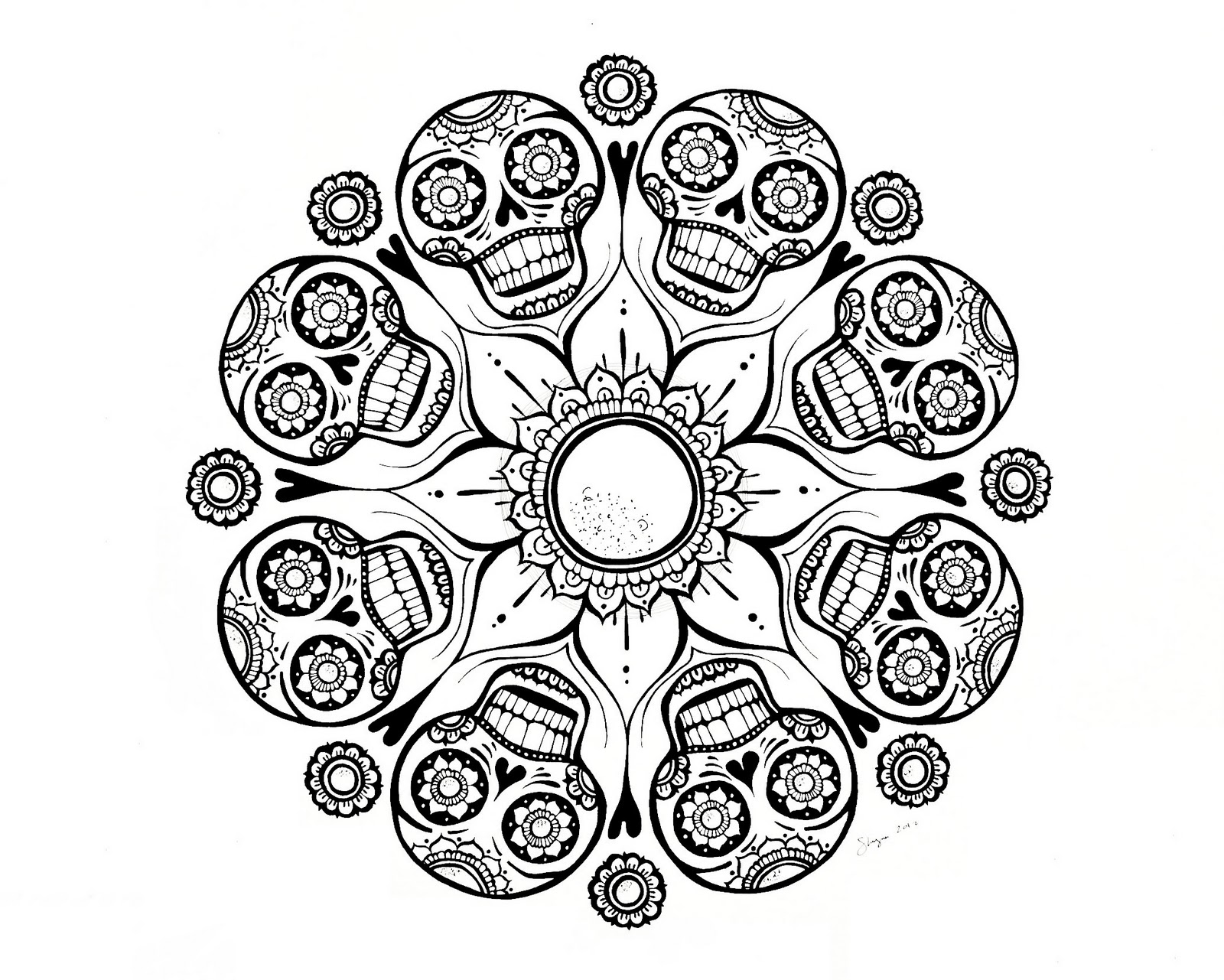 Skull Mandala Coloring Pages http://ispywithmycraftyeyes.blogspot.com/2012/01/sugar-skull-flower-finished.html