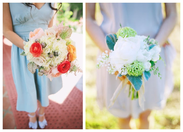 Bouquets for Different Blue Bridesmaid Dresses