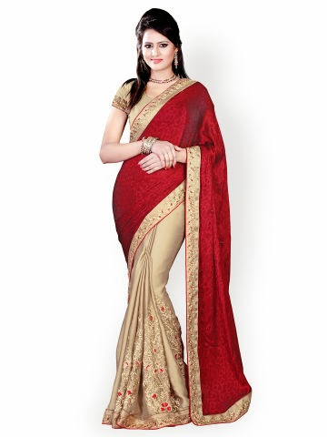 Buy Akoya Maroon & Beige Jacquard Fashion Saree from Myntra at Rs 2040 only