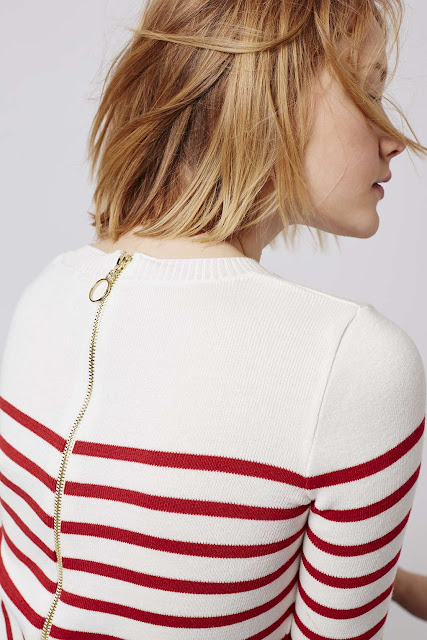 red stripe zip back jumper, striped zip back jumper,