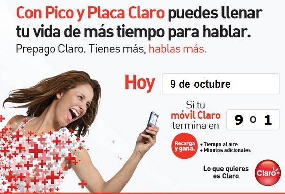 placa claro colombia hoy Martes 9 de octubre 2012 hoy es dia pico y