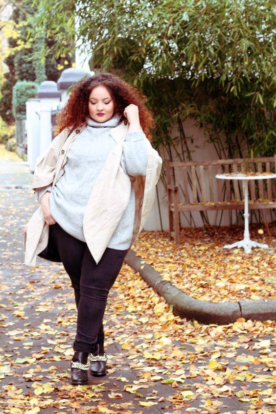 Outfits de moda otoño para gorditas.