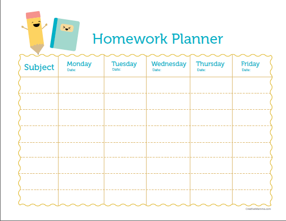 Free weekly homework template