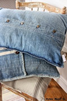 poduszka z koszuli jeansowej