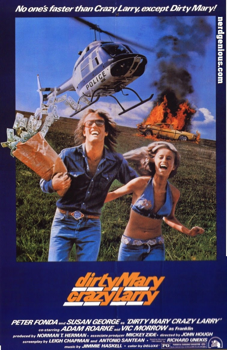 Peter Fonda and Susan George poster to the racing heist thriller Dirty Mary, Crazy Larry