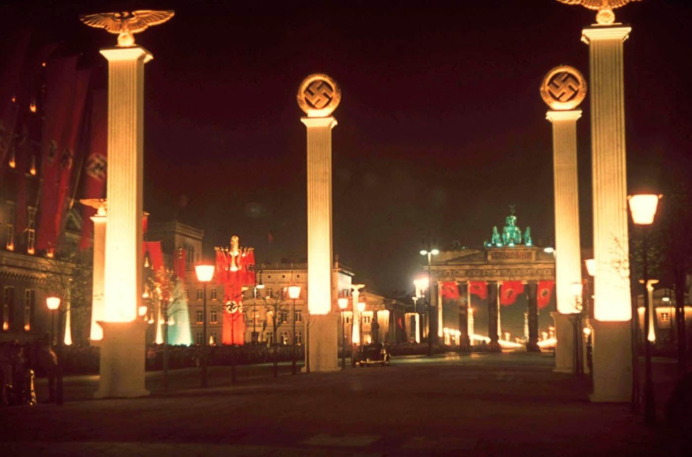 Berlin illuminated at midnight in honor of Hitler's 50th birthday, April 1939