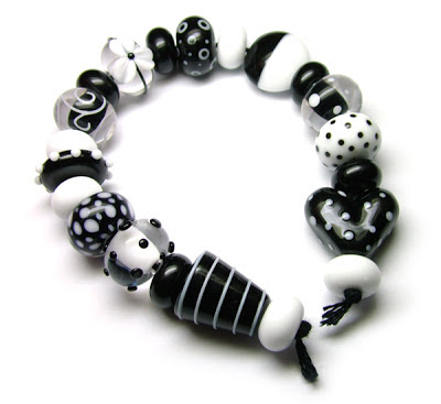 Black and white glass beads
