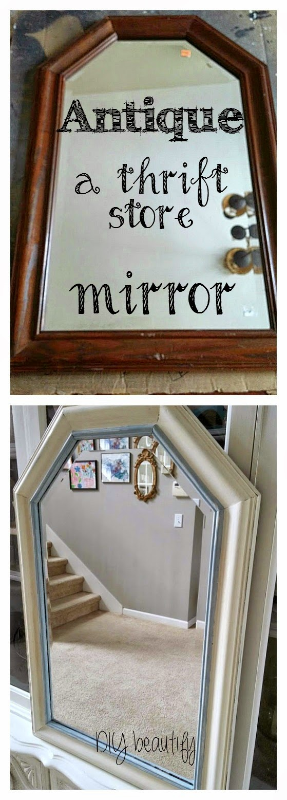 How to antique a mirror by www.diybeautify.com