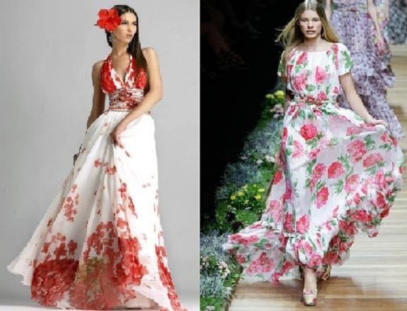 yazl%C4%B1k %C3%A7i%C3%A7ekli bayan uzun elbise modeli 2013 Çiçekli elbise modelleri
