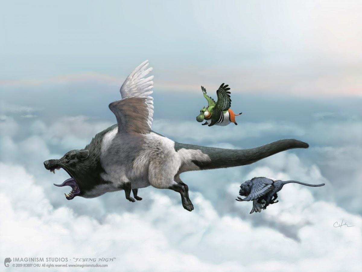 illustration de Bobby Chiu représentant 3 montres volant sur un ciel de nuages