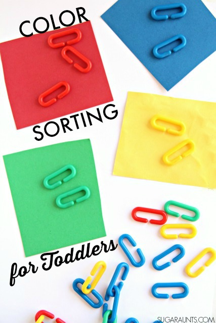 color sorting activity for toddlers using rainbow plastic chain links for learning and fine motor skills - Color For Toddlers