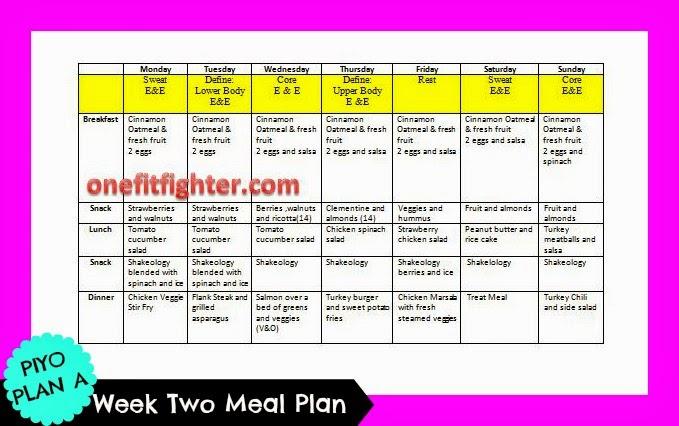 piyo meal plan, free meal plan