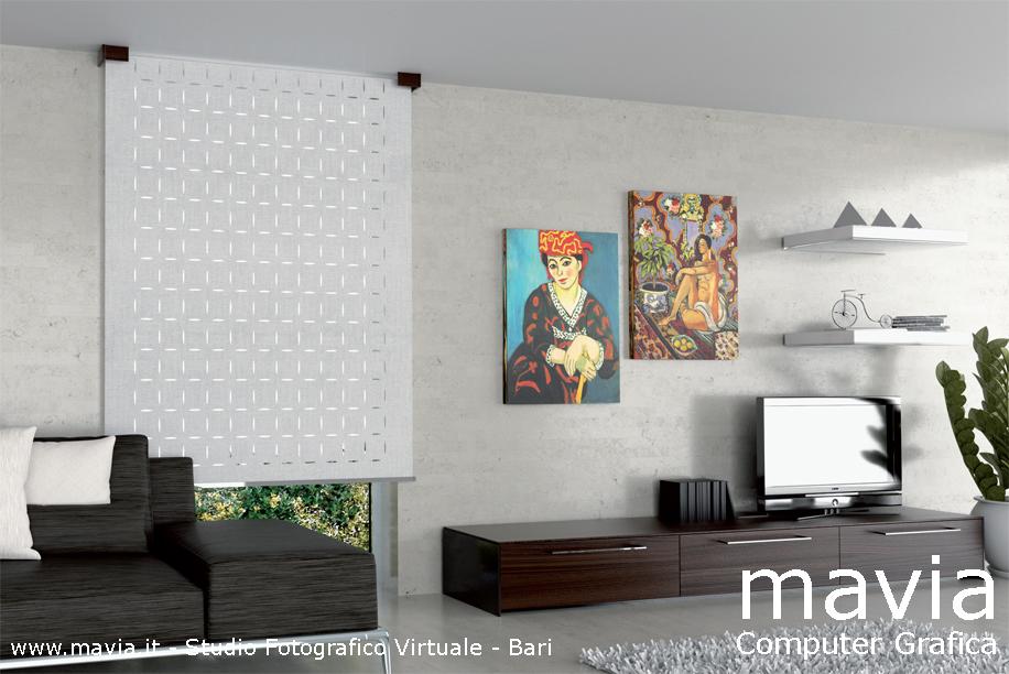 Arredamento di interni: Tenda tecnica per soggiorno moderno - rendering fotog...