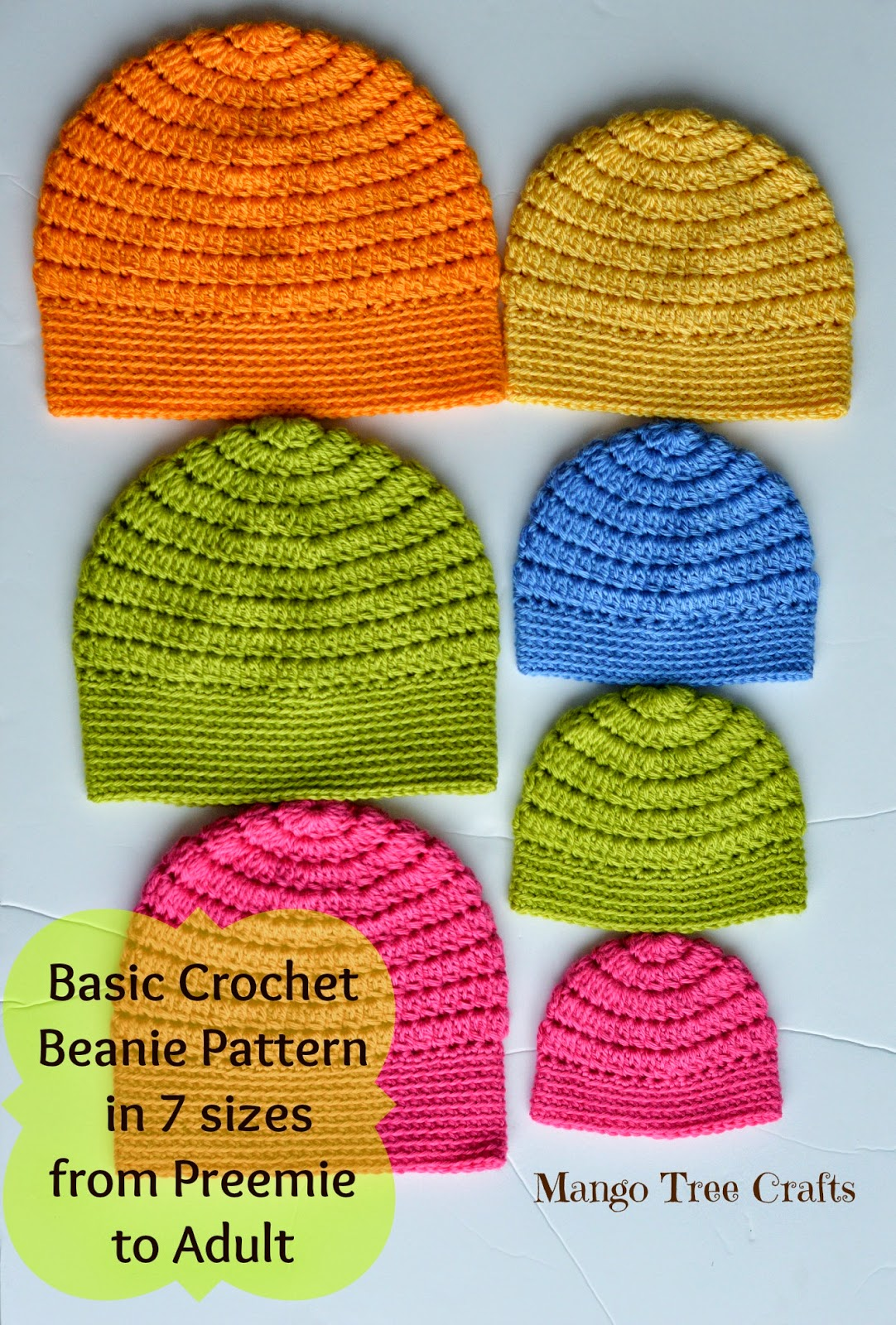 All Crochet Free Patterns : Mango Tree Crafts: Free Basic Beanie Crochet Pattern All Sizes