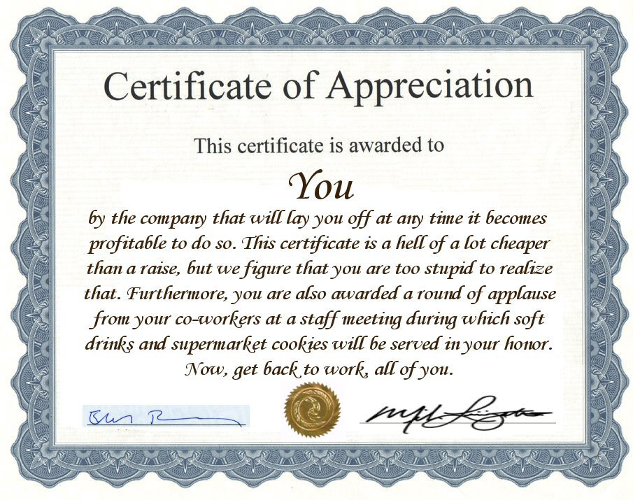 Funny employee recognition quotes quotesgram for Work anniversary certificate templates