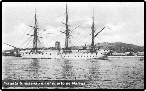Fragata Gneisenau en el puerto de Málaga