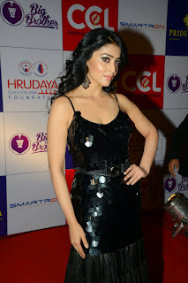 Actress Shriya Saran Latest Picture in Black Long Dress at CCL Charity Dinner 40
