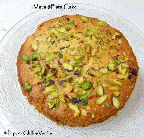 very delicious cake made using mava khoya and pista i love mava cakes ...