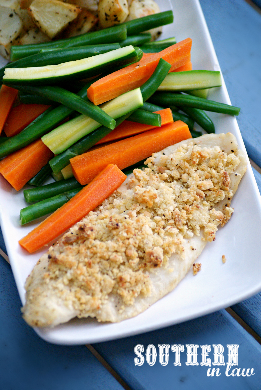Southern in law recipe healthy macadamia crusted baked fish for Healthy fish dinner recipes