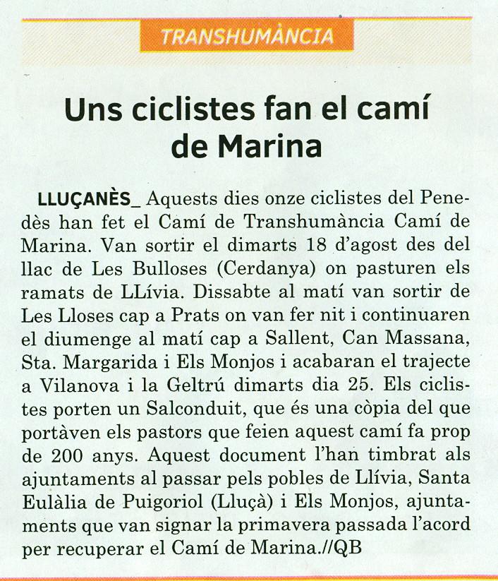 El Camí de Marina a la premsa