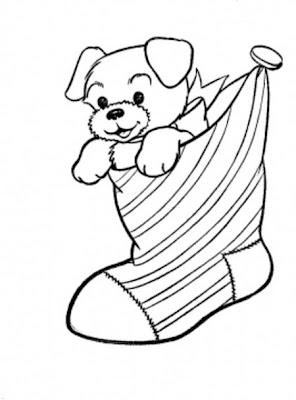 Cute Christmas Puppy Coloring Pages