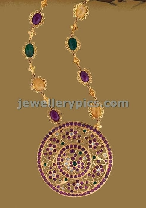 rubies and gemstone round pendnet set padkkam