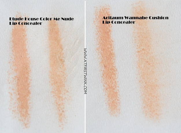 Aritaum wannabe cushion lip concealer compared to the Etude House Color me nude lip concealer