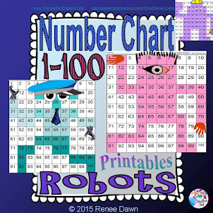 Number Chart 1-100 Robots