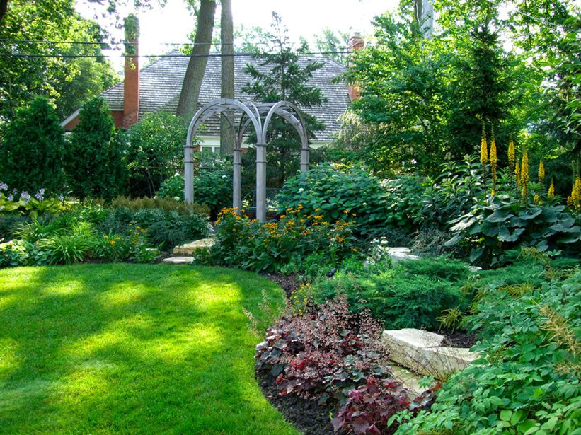 Suburban Backyard Garden : Notice the curves, layering of colors and laddering to give depth