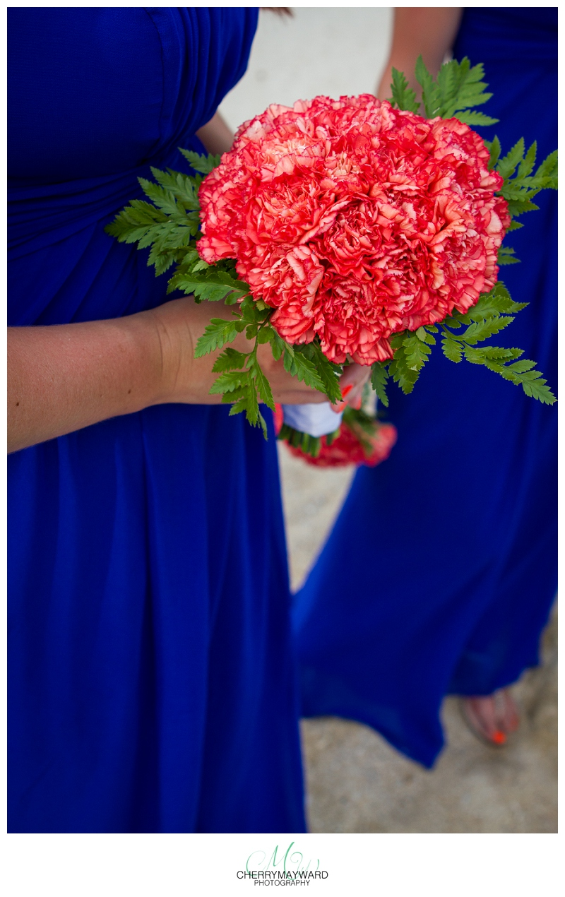 bridesmaids bouquet, red and navy, beautiful, Koh Samui wedding