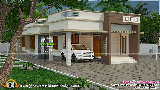 1244 sq ft 3 bedroom home plan kerala home design and for Minimalist house flat roof