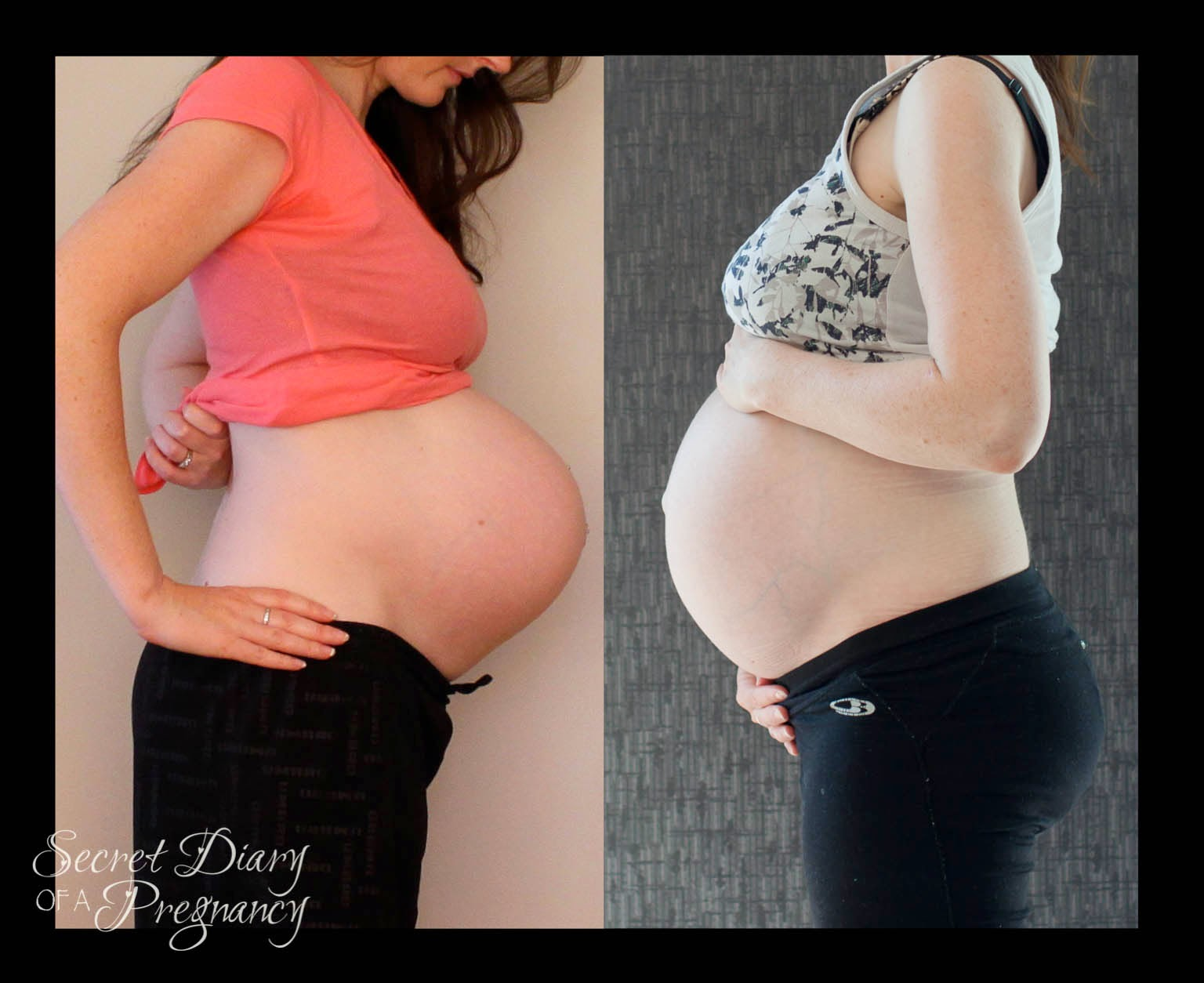 Week 36 pregnant belly side view comparison