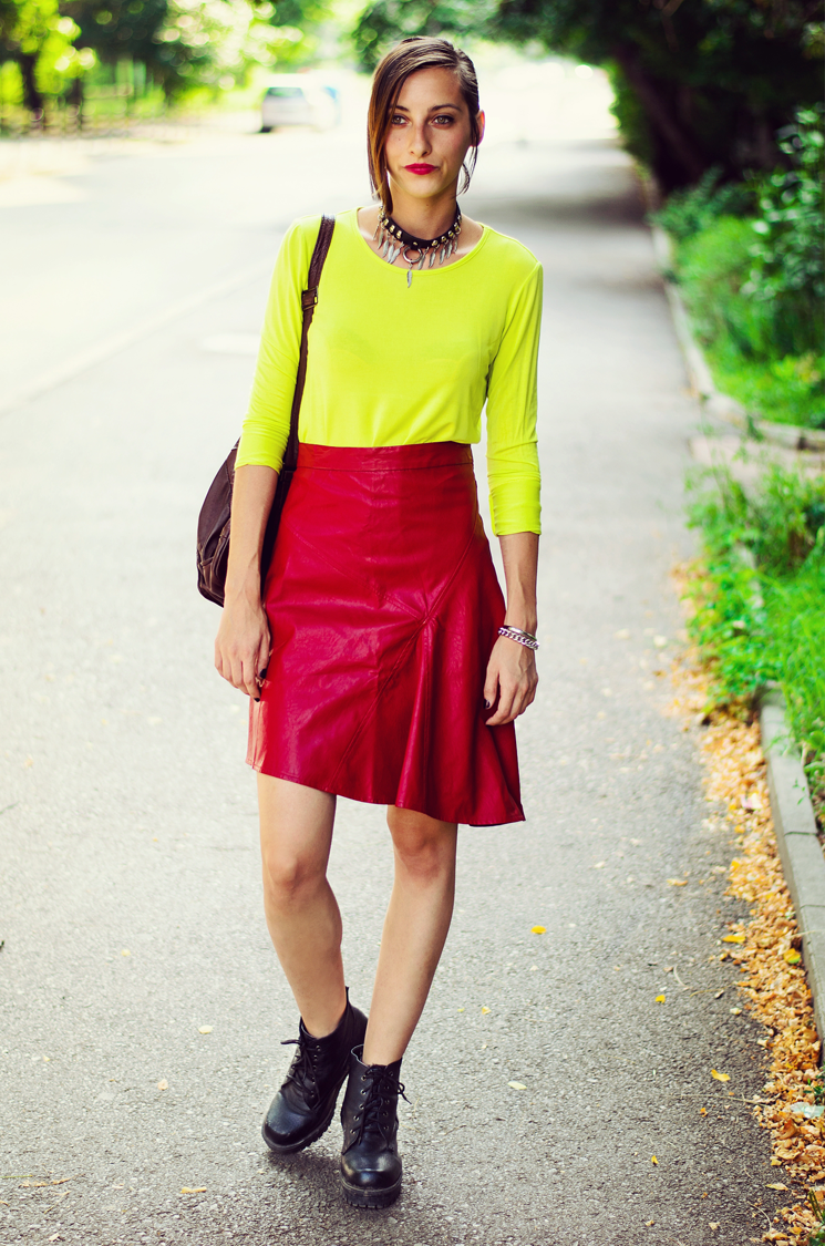 Leather skirt no panties