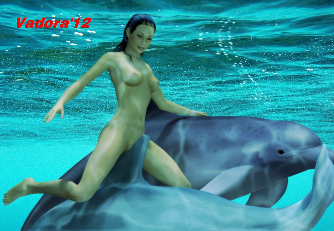 Nude Woman Underwater With Dolphin