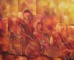 Vendedora de ollas y canastos en rojo