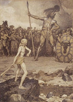 The Young David fighting against armed and laughing Goliath