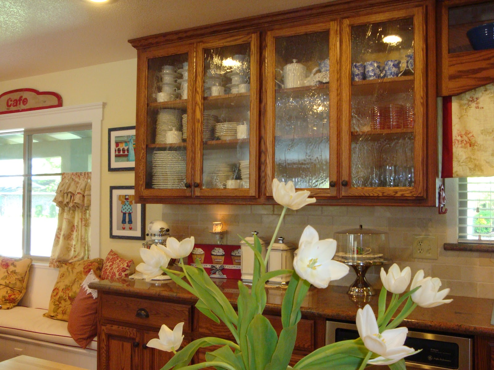 Kitchen Cabinets with Seeded Glass