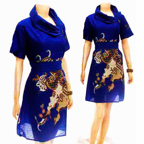 DB3787 Mode Baju Dress Batik Modern Terbaru 2014
