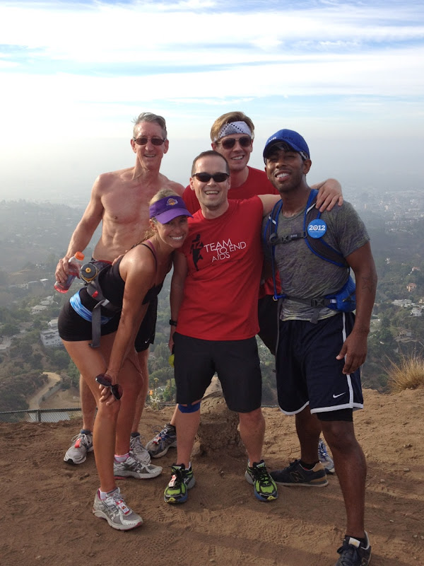 Team to End AIDS runners Hollywood Sign