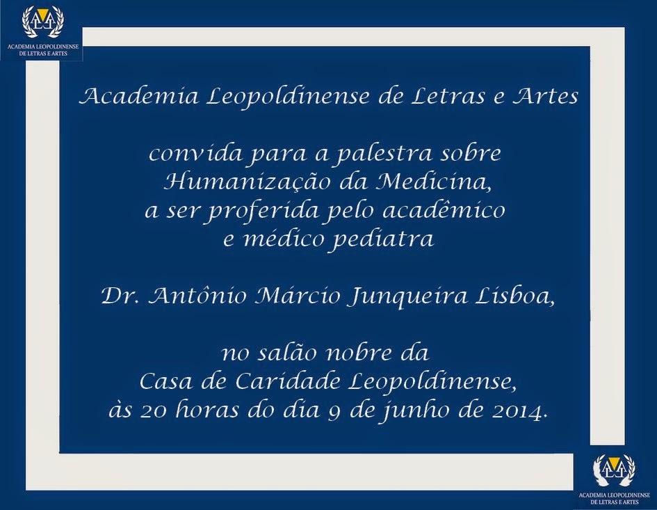 Convite para palestra do acadêmico Antonio Marcio Junqueira Lisboa