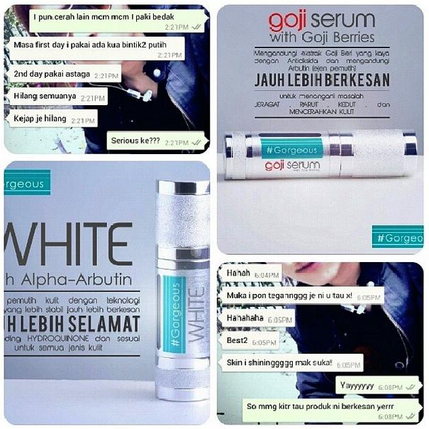 testimonial gorgeous set kecantikan kulit #Gorgeous #GorgeousWhite #GorgeousGojiSerum Malaysia dealer