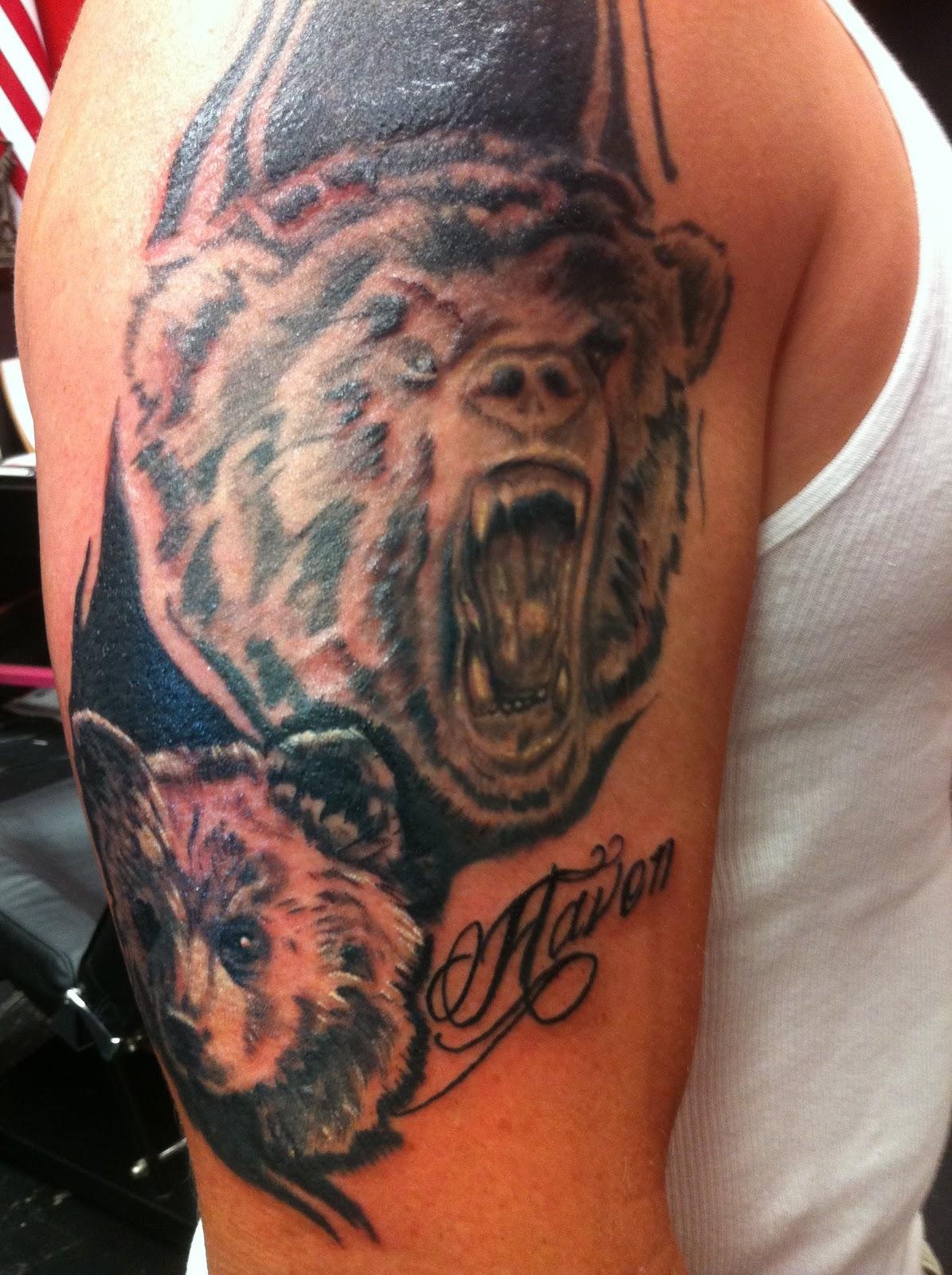 Tattoos by wojo adding the bear cub for Bear cub tattoo