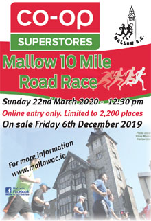 Popular 10 mile race in N Cork - Sun 22nd Dec 2020