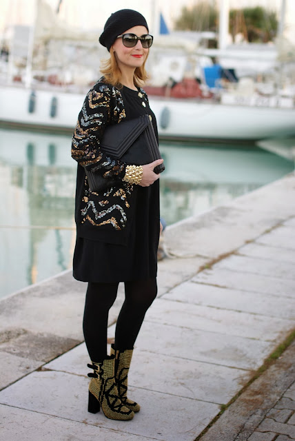 Black and golden elegant outfit, Asos golden bracelet, Marc by Marc Jacobs Hobbes cardigan, Fashion and Cookies, fashion blogger